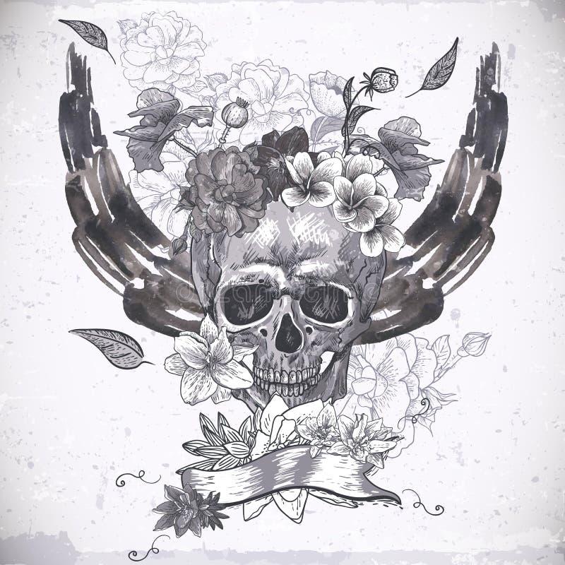 Download Абстрактная предпосылка с черепом, крылами и цветками Иллюстрация вектора - иллюстрации насчитывающей готско, ужас: 37927003