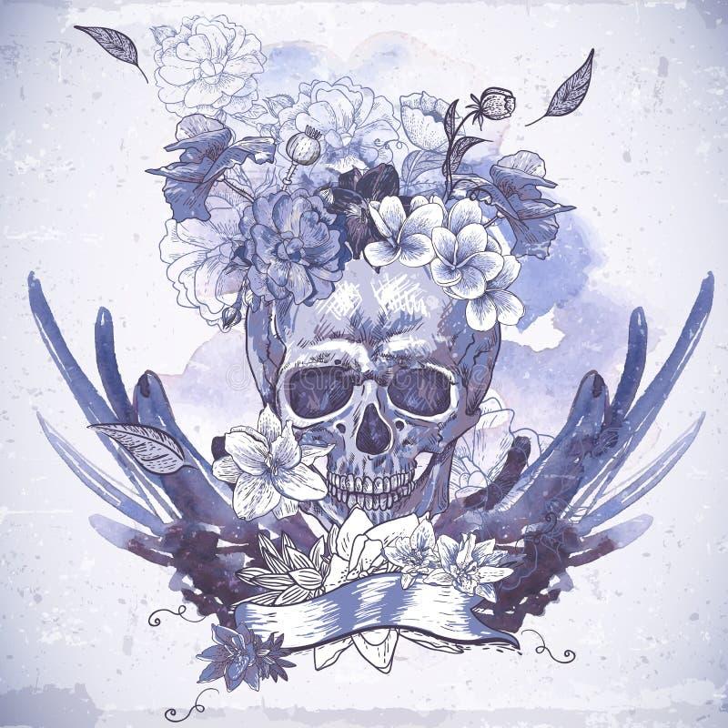 Download Абстрактная предпосылка с черепом, крылами и цветками Иллюстрация вектора - иллюстрации насчитывающей мексика, флористическо: 37927157