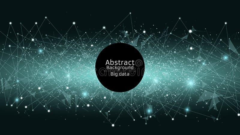 абстрактная предпосылка футуристическая Соединение треугольников и точек Современные технологии в дизайне Накаляя сеть сини Хлев