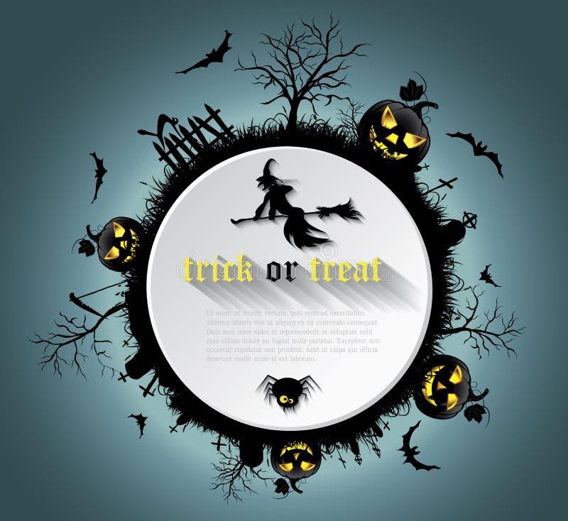 Абстрактная предпосылка хеллоуина с погостом, ведьмой, тыквой иллюстрация вектора