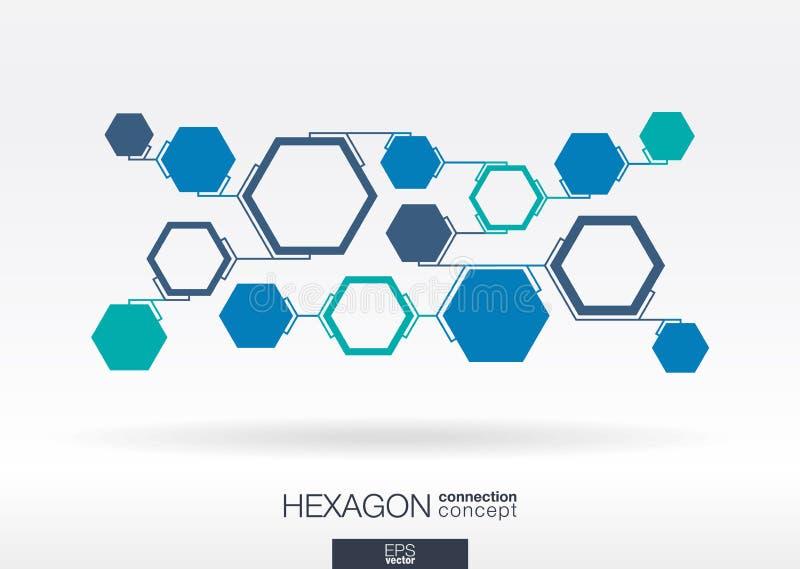Абстрактная предпосылка шестиугольника с интегрированными полигонами иллюстрация штока