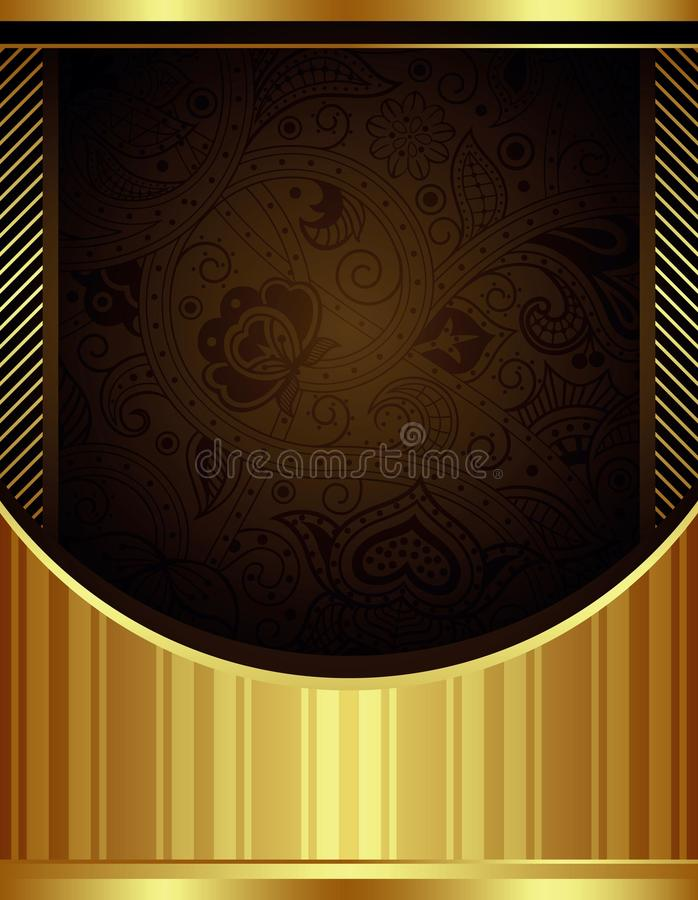 Абстрактная предпосылка шоколада и золота флористическая иллюстрация вектора