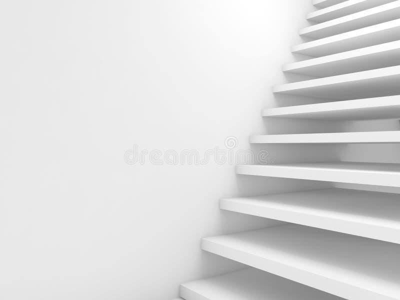 Абстрактная предпосылка cg, пустые белые лестницы иллюстрация вектора