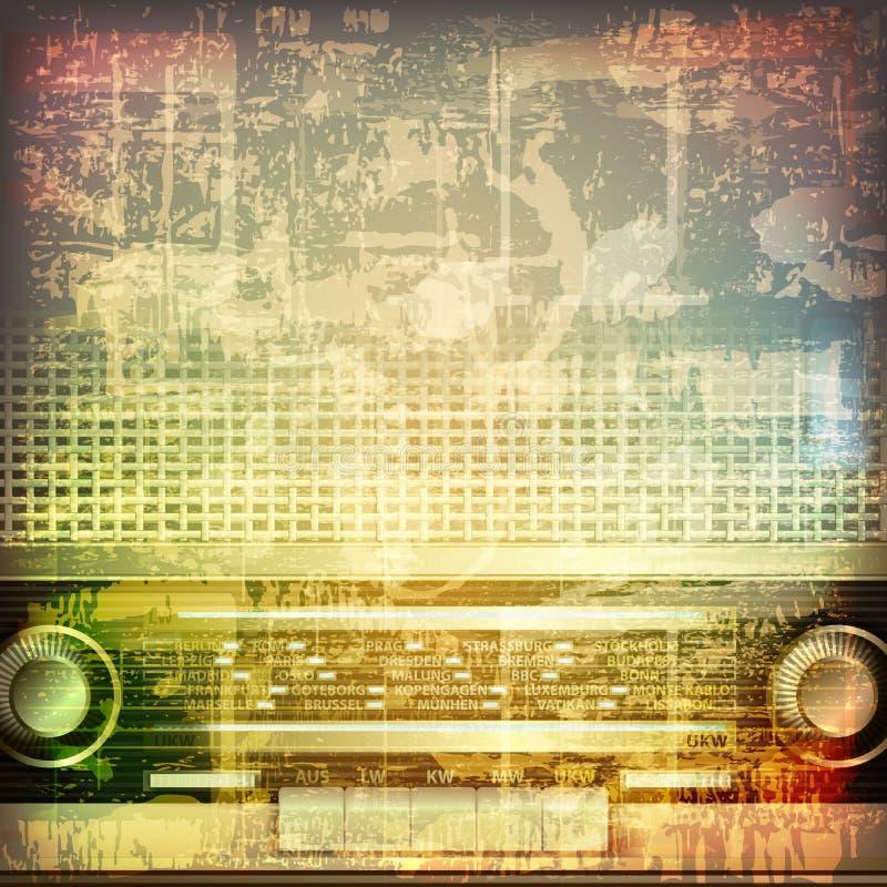 Абстрактная предпосылка grunge с ретро радио иллюстрация вектора