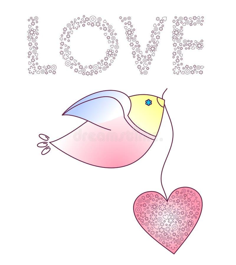 Абстрактная птица с сердцем иллюстрация штока