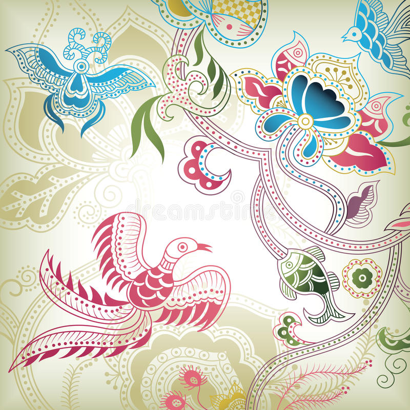 абстрактная птица флористическая иллюстрация штока