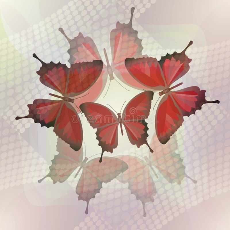 Абстрактная плитка в романтичном стиле с бабочкой на туманной предпосылке иллюстрация штока