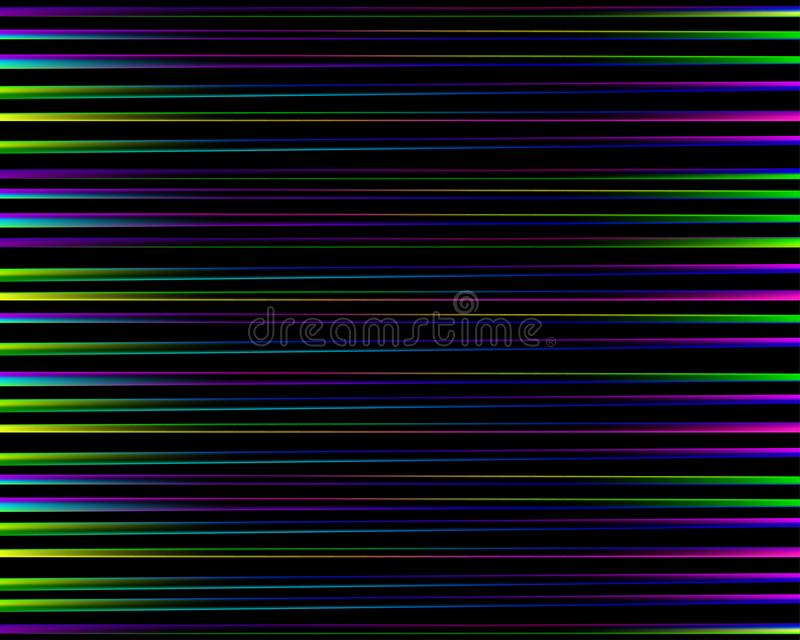 абстрактная радуга картины Яркая красочная печать составленная фиолетовых, голубых, зеленых и розовых линий на черной предпосылке бесплатная иллюстрация