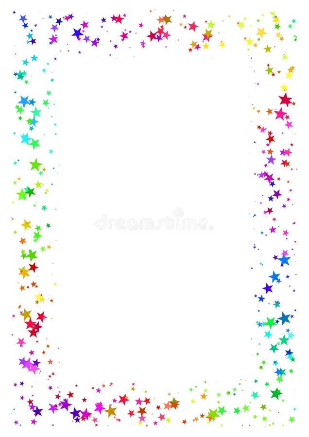 Абстрактная рамка сделанная из красочных звезд на белой предпосылке Бумага A4 с границей покрашенной радугой звёздной Multicolor  иллюстрация штока