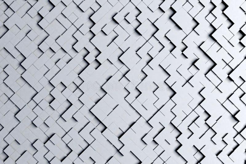Абстрактная раскосная черно-белая или серая геометрическая малая картина дизайна предпосылки плиток куба 3d бесплатная иллюстрация