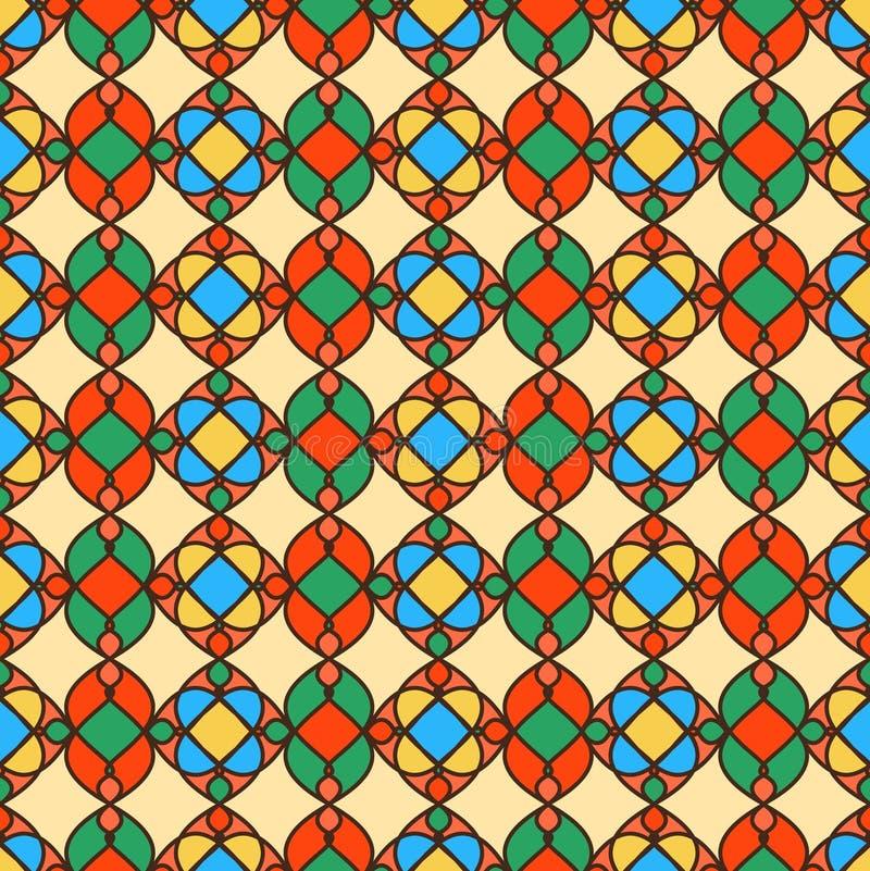 Абстрактная ретро геометрическая безшовная картина Желтая предпосылка иллюстрация штока