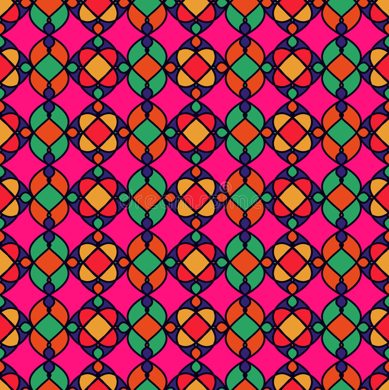 Абстрактная ретро геометрическая безшовная картина Розовая предпосылка иллюстрация вектора