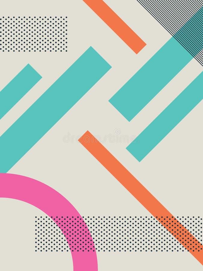 Абстрактная ретро предпосылка 80s с геометрическими формами и картиной Материальные обои дизайна иллюстрация штока
