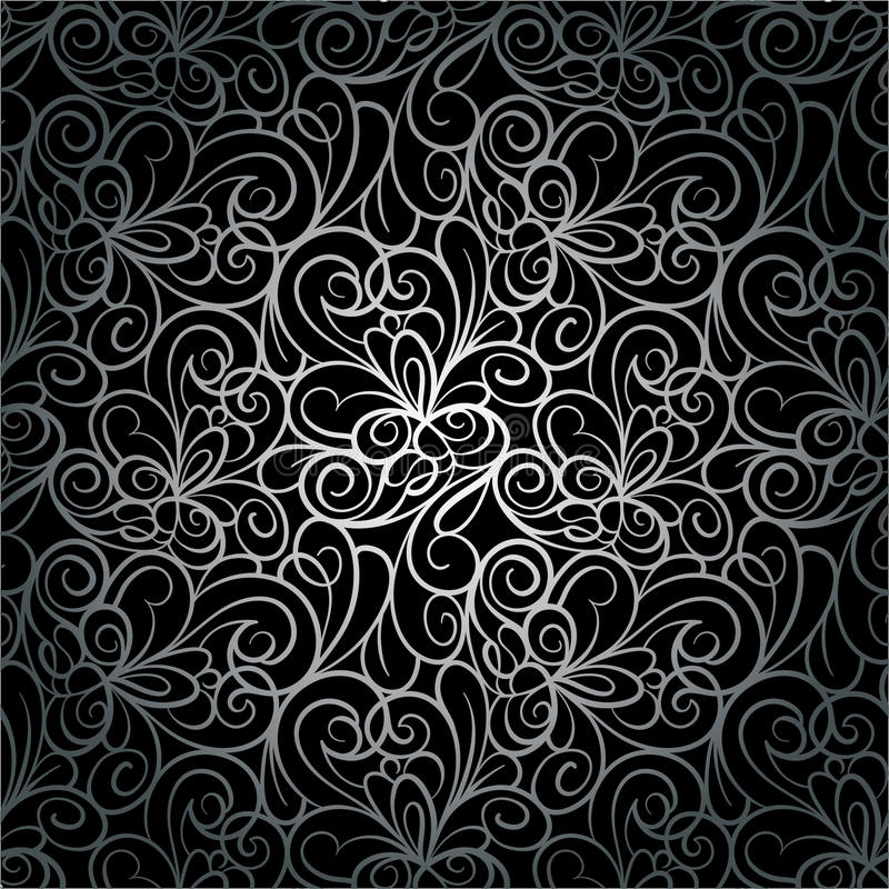 Абстрактная ретро роскошная безшовная картина предпосылки свирли в векторе Текстура серебряного шнурка бесконечная иллюстрация вектора