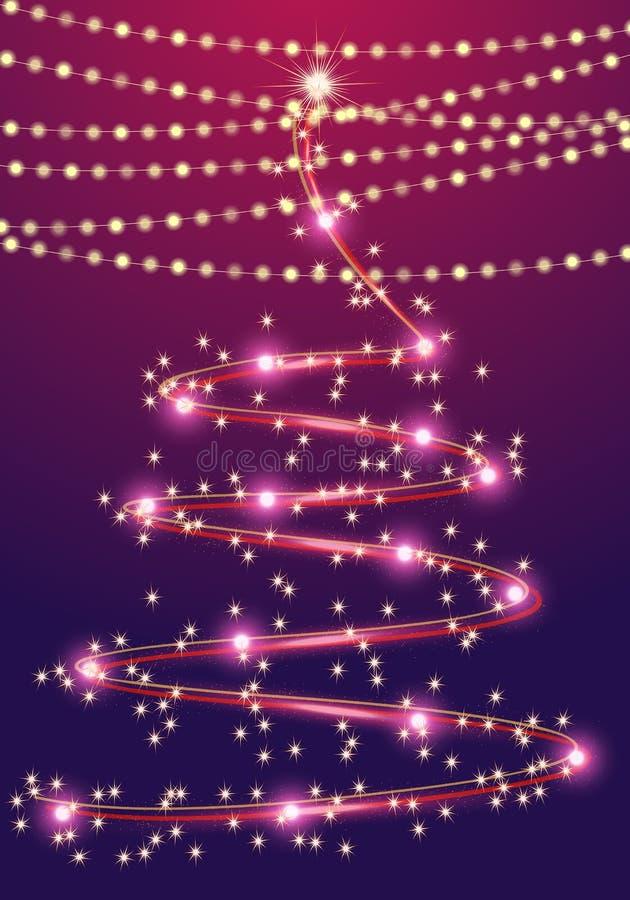 Абстрактная рождественская елка с гирляндами на сине-фиолетовой предпосылке бесплатная иллюстрация