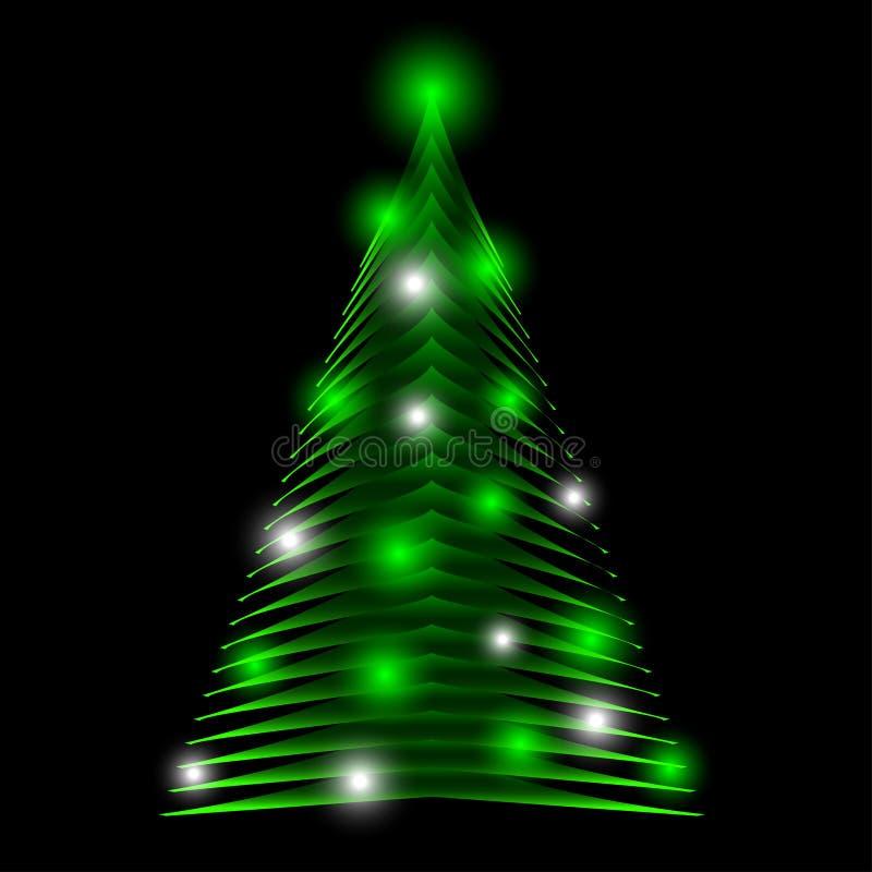 Абстрактная рождественская елка сделанная зеленых треугольников Предпосылка поздравительной открытки иллюстрация вектора