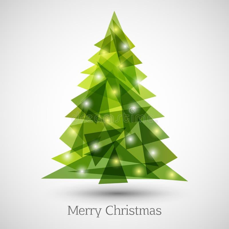 Абстрактная рождественская елка сделанная зеленых треугольников иллюстрация вектора