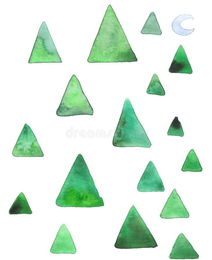 Абстрактная рождественская открытка акварели с noetic ребяческими деревьями, луной и снегом иллюстрация вектора