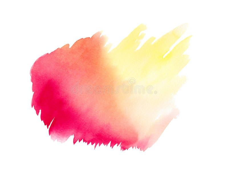 Абстрактная розовая красная желтая акварель на белой предпосылке Цвет брызгая на бумаге Нарисованная рука стоковое изображение rf
