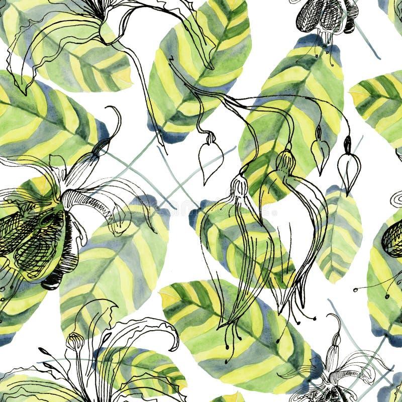 Абстрактная рука акварели покрасила предпосылки с красивыми зелеными листьями иллюстрация вектора