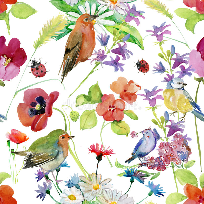 Абстрактная рука акварели покрасила предпосылку с цветками и птицами иллюстрация вектора