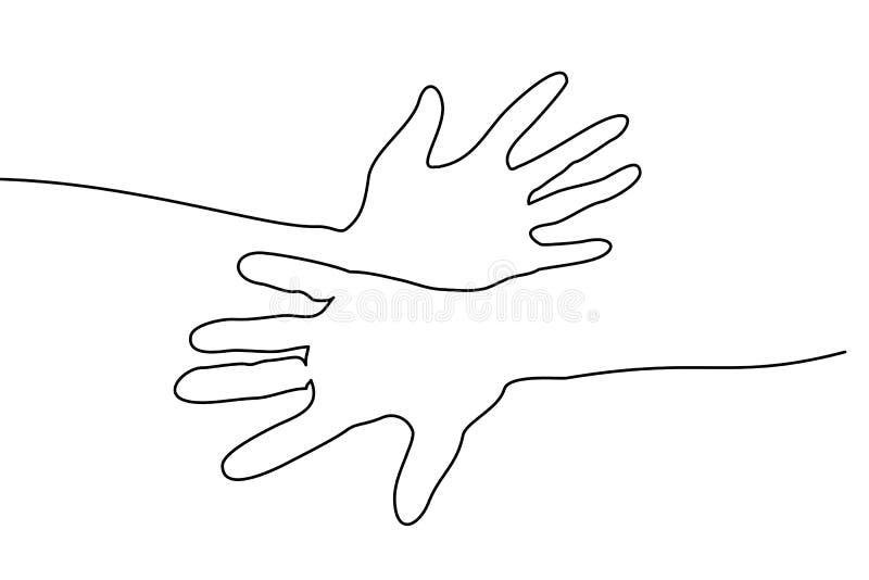 Абстрактная рук линия притяжка совместно непрерывная одна иллюстрация вектора