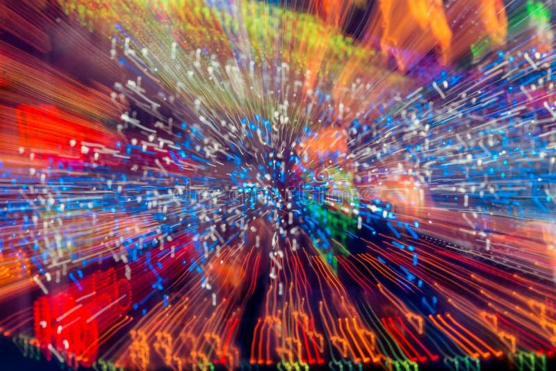 Абстрактная светлая предпосылка влияния взрыва Фотоснимок долгой выдержки двигать яркие света стоковая фотография rf