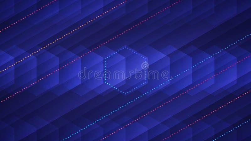 Абстрактная светлая предпосылка с прозрачными шестиугольниками и неоновыми покрашенными пунктирными линиями иллюстрация вектора
