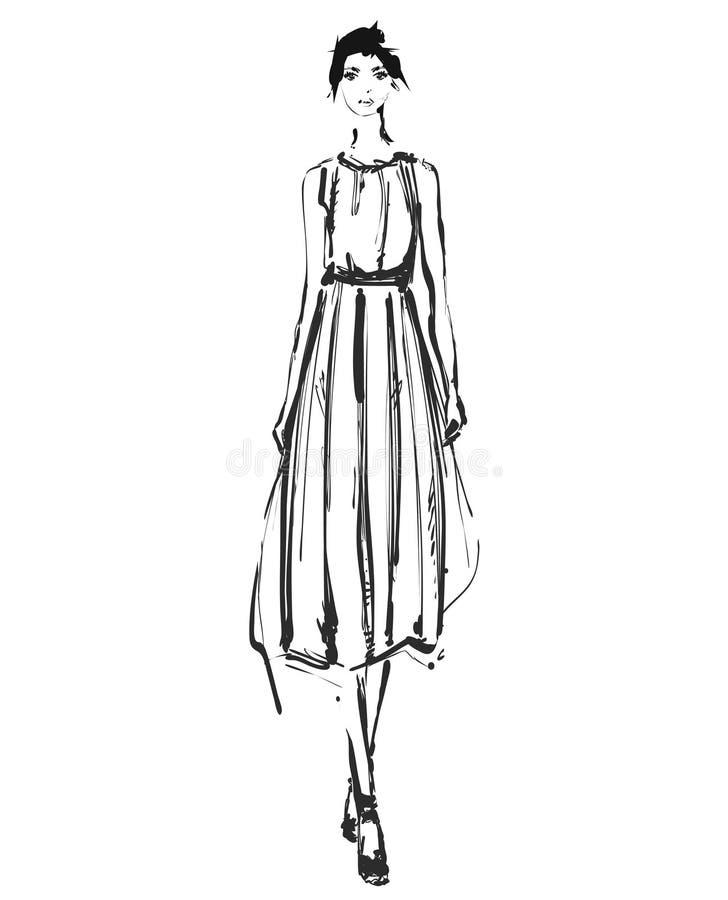Абстрактная свободная модель в платье, doodle руки вычерченный, эскиз, иллюстрация моды вектора плана черно-белая девушка иллюстрация вектора