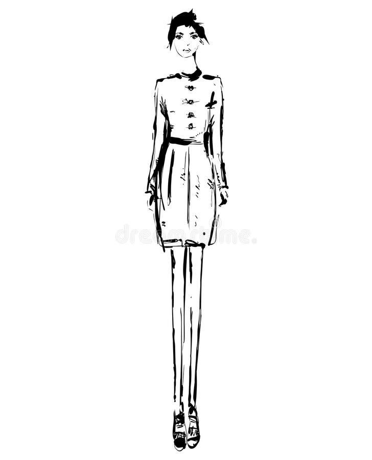 Абстрактная свободная модель в платье, doodle руки вычерченный, эскиз, иллюстрация моды вектора плана черно-белая девушка иллюстрация штока
