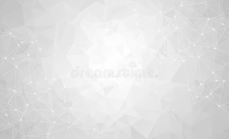 Абстрактная серая светлая геометрическая полигональная молекула и связь предпосылки Соединенные линии с точками Концепция науки, иллюстрация штока