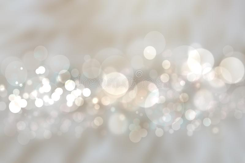 Абстрактная серебряная текстура предпосылки с запачканным белым ligh bokeh иллюстрация штока