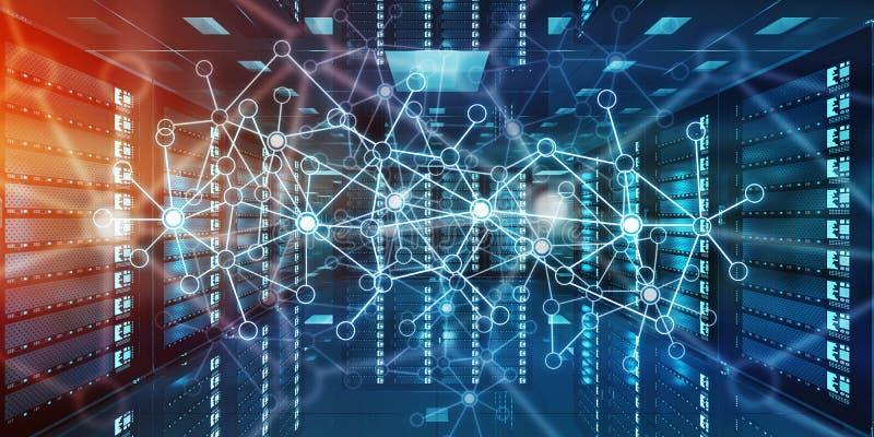 Абстрактная сеть на переводе центра данных 3D комнаты сервера иллюстрация вектора