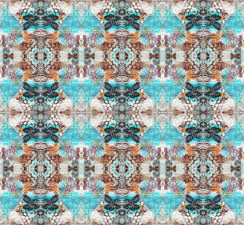 Абстрактная симметричная картина картина безшовная Основанный на странице мультимедиа Scrapbook Текстура, краска, розовые листья, иллюстрация вектора