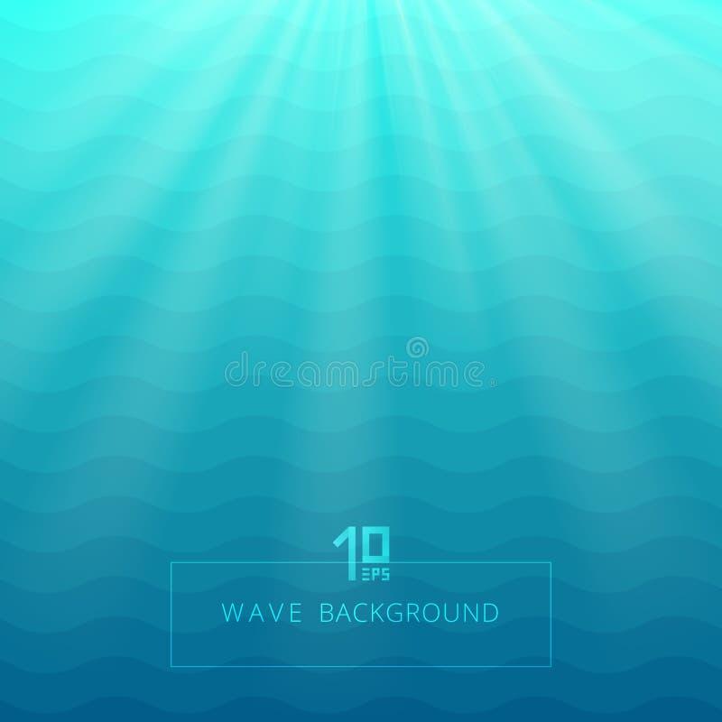 Абстрактная синь развевает линии подводная предпосылка с освещать sh бесплатная иллюстрация