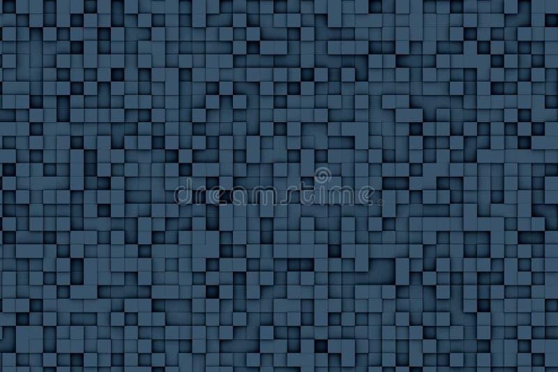 Абстрактная синяя геометрическая малая картина дизайна предпосылки куба 3d иллюстрация штока