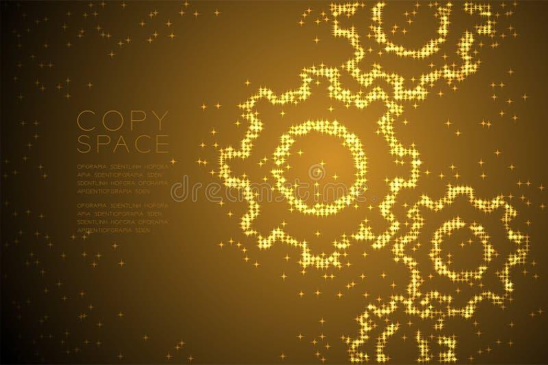Абстрактная сияющая форма шестерни инженерства картины звезды, иллюстрация цвета золота дизайна концепции системы сыгранности иллюстрация вектора