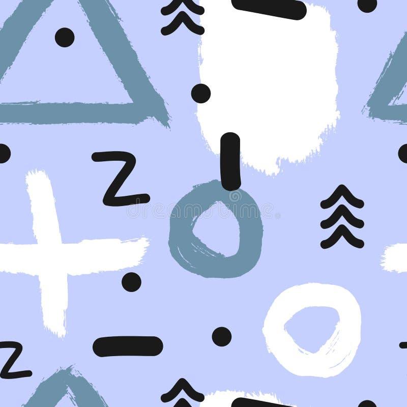 Абстрактная современная безшовная картина с геометрическими формами и watercolour чистят ходы щеткой иллюстрация штока