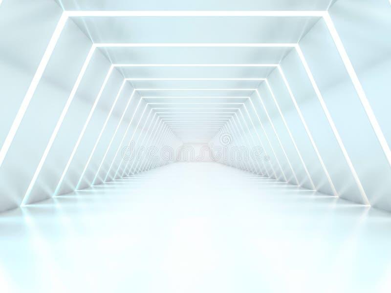 Абстрактная современная предпосылка архитектуры, пустой интерьер открытого пространства 3d иллюстрация штока