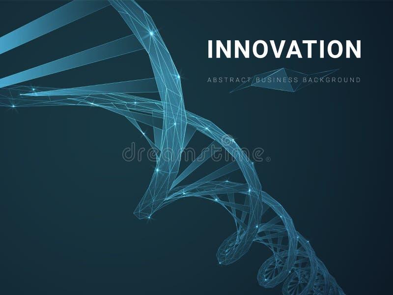 Абстрактная современная предпосылка дела показывая нововведение со звездами и линиями в форме двойной спирали ДНК на голубой пред бесплатная иллюстрация
