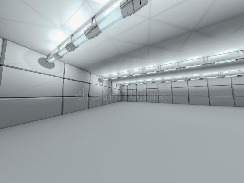 Абстрактная современная предпосылка архитектуры, пустое белое открытое пространство иллюстрация вектора