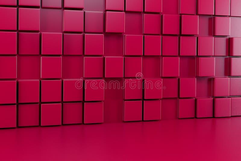 Абстрактная стена предпосылки красных кубов и красного пола 3d представляют иллюстрация вектора