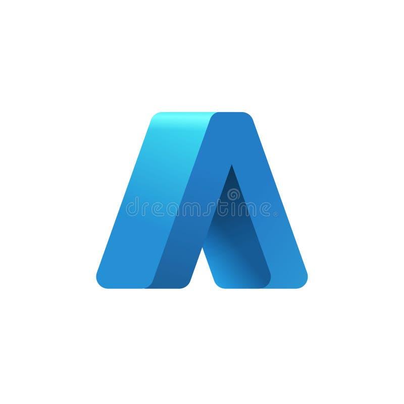 Абстрактная стрелка вверх по шаблону вектора логотипа, письму голубого градиента 3d твердому дизайн логотипа, идея успеха геометр бесплатная иллюстрация