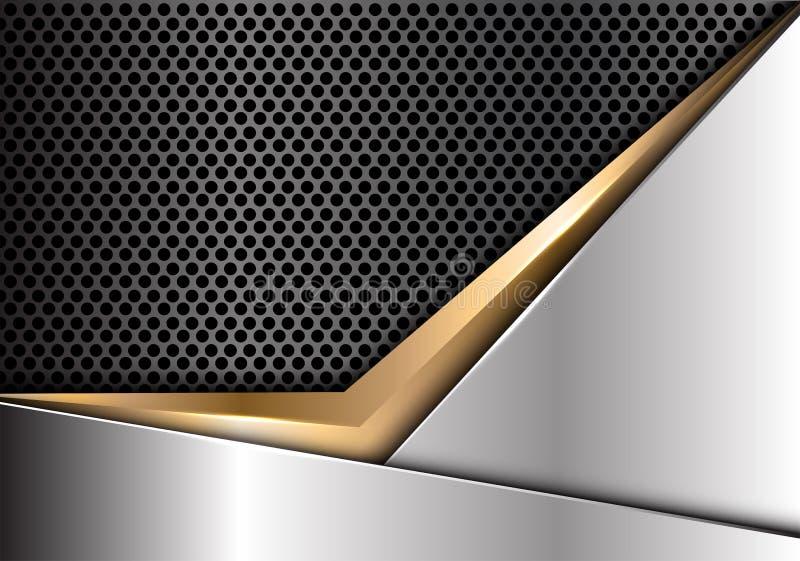 Абстрактная стрелка золота на серебряной темноте - векторе предпосылки серого дизайна сетки круга современном роскошном футуристи иллюстрация вектора