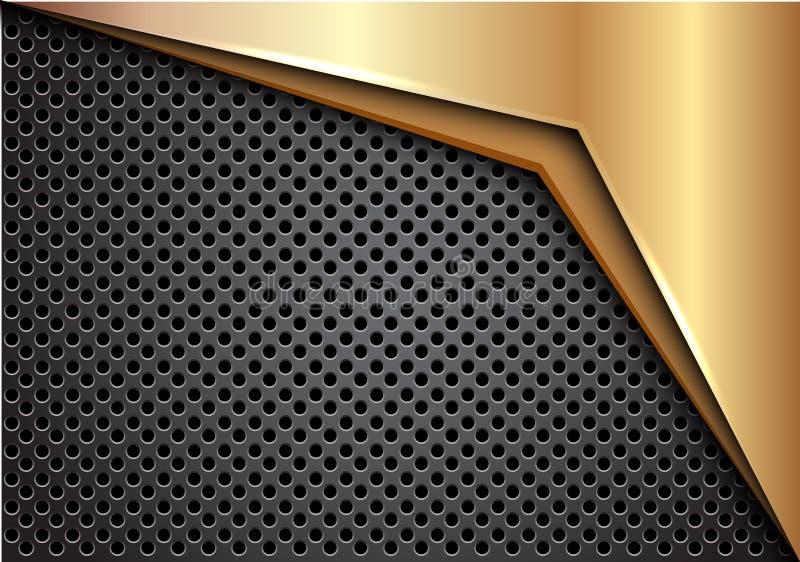 Абстрактная стрелка золота на темноте - векторе предпосылки серого металлического дизайна сетки круга современном футуристическом иллюстрация вектора