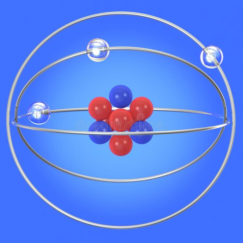 Абстрактная структура атома на голубой предпосылке иллюстрация вектора