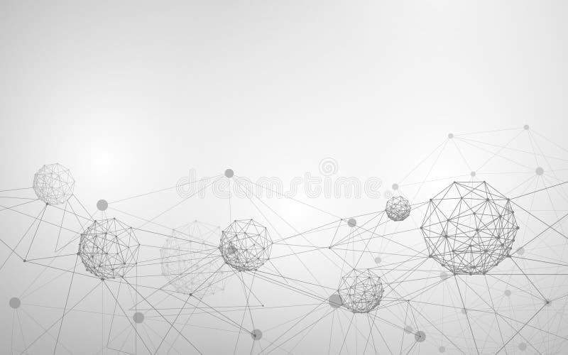 Абстрактная структура молекулы и атома Белая и серая наука или медицинская предпосылка иллюстрация вектора