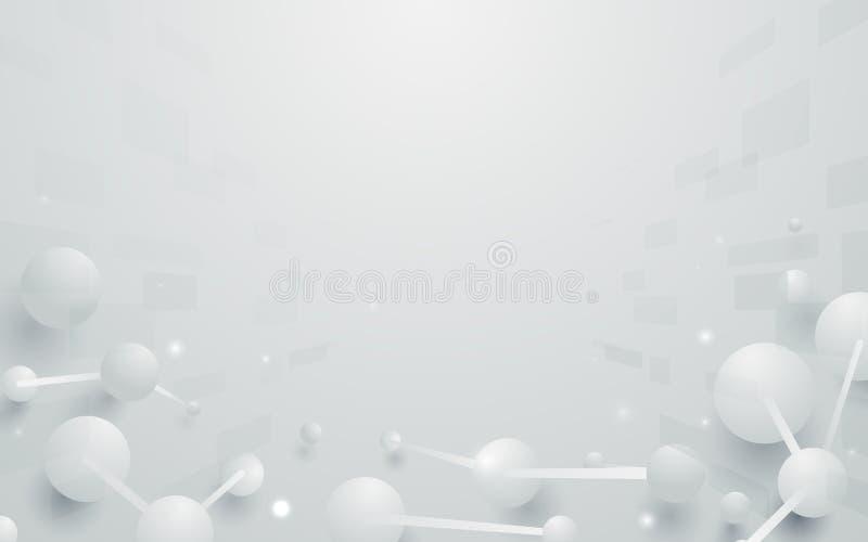 Абстрактная структура молекул дна в белой предпосылке тона иллюстрация штока