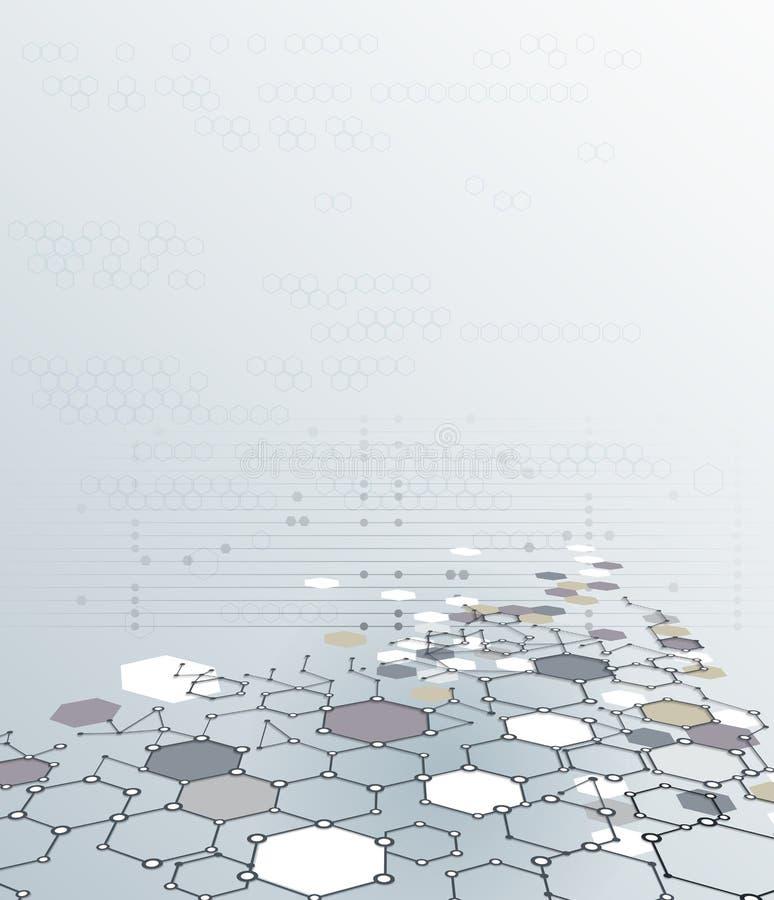 Абстрактная структура молекулы дна с полигоном на свете - серой предпосылке цвета бесплатная иллюстрация