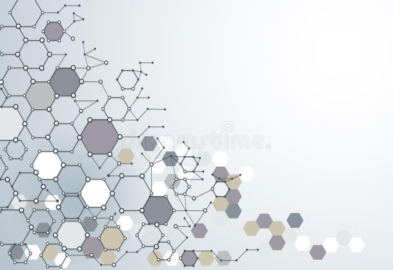 Абстрактная структура молекулы дна с полигоном на свете - сером цвете бесплатная иллюстрация
